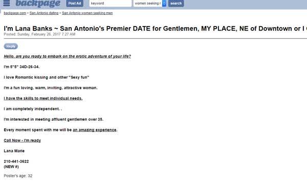 Antonio backpage women san San Antonio